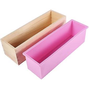 Drewniana prostokątna silikonowa forma odpowiednia do ciasta i mydła z pudełkiem