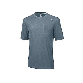Wilson Textured Crew Blue Mirage WRA731005 training all year men t-shirt