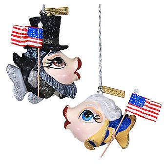 Katherines Collection Founding Flounders Abe Betsy Holiday Ornaments Set of 2