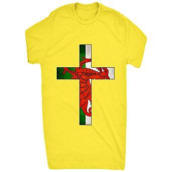 Walesiska flaggan inuti korset för män