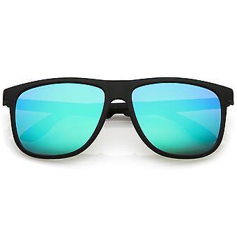 Klassieke hoorn omrande zonnebril met vierkante kleur platte hoofdspiegel 56mm