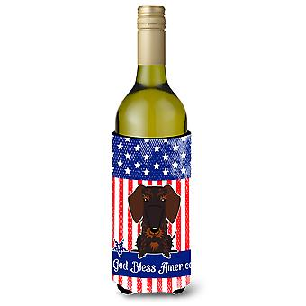 Patriotic USA Wire Haired Dachshund Chocolate Wine Bottle Beverge Insulator Hugg