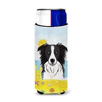 Border Collie Summer Beach Michelob Ultra beverage Insulator for slim cans