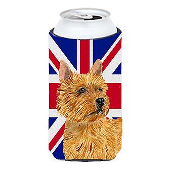 Norwich Terrier inglés Union Jack británico bandera muchacho alto bebidas aislante