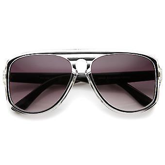 Óculos de sol aviador moderno translúcido moldura fechadura Flat Top Praça 46mm
