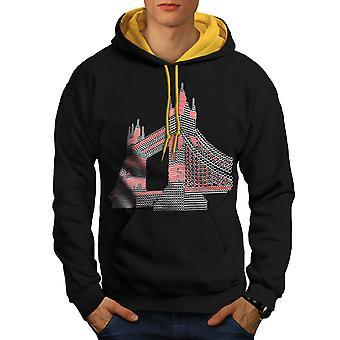 Tower Bridge UK London Men Black (Gold Hood)Contrast Hoodie | Wellcoda