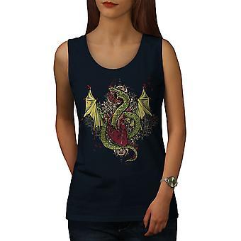 Mystisk Dragon Fantasy kvinner NavyTank toppen | Wellcoda