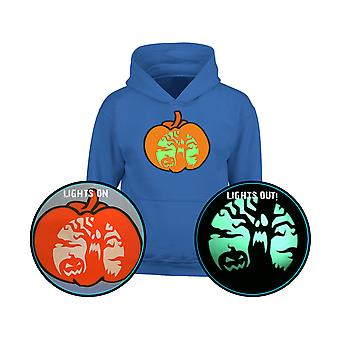 Halloween Spooky Scene GLOW IN THE DARK Pumpkin Kids Hoodie 10 Colours (S-XL) by swagwear