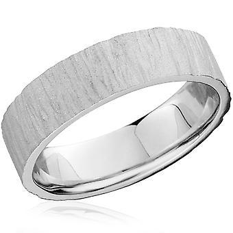 6MM flad Herre 10K hvidguld tekstureret Wedding Band