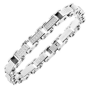 Master Edelstahl Micro Pave CZ Armband - 10mm silber