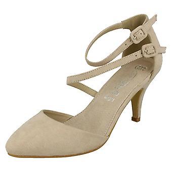Damen-Punkt auf Mitte Heel Riemchen Gericht Schuhe F9657