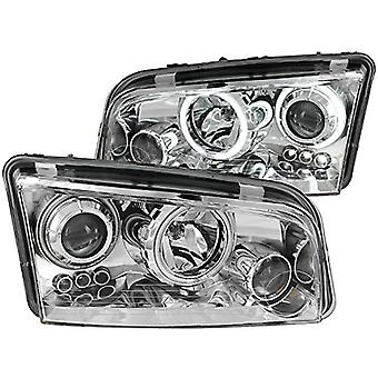 Anzo USA 121217 Dodge Charger Projector Halo Chrome Clear Headlight Assembly - (Sold in Pairs)