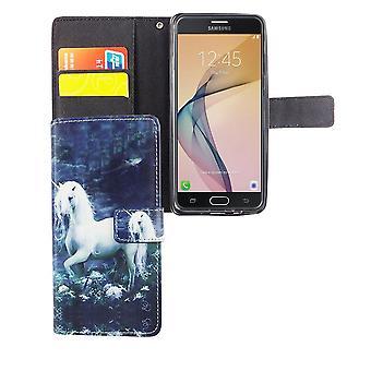 Matkapuhelin tapauksessa pussi mobiili Samsung Galaxy J5 Prime yksisarvinen valkoinen