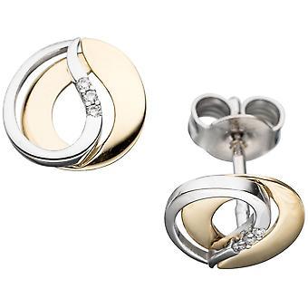 أقراط 585 الذهب الأصفر الماس الماس 6 ذو لونين الذهب الأبيض الذهب