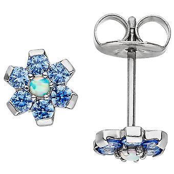 زهرة أقراط مصنوعة من الفولاذ المقاوم للصدأ مع أقراط كريستال العنصر الأزرق.