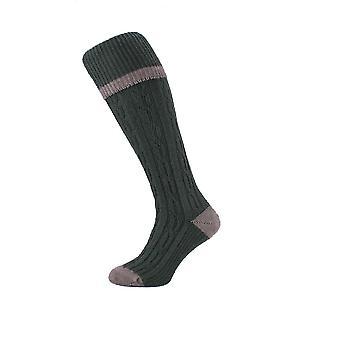 HJ Hall Cable Stripe Wool Blend Thermal Shooting-Hike-Walking Socks HJ622 11-13 Olive