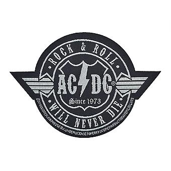 AC/DC Rock & Roll Will Never Die Cut Out Woven Patch