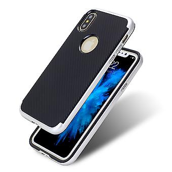 Hybrid Silikon Handy Hülle für Apple iPhone XS Case Cover Tasche Silber