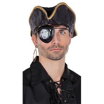 Piraten Augenklappe LED groß schwarz Totenkopfmotiv Blinkeffekt Accessoire Pirat
