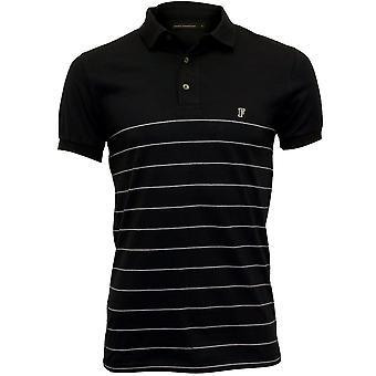 Französische Verbindung gestreiften Pique Polo Shirt, Navy/weiß