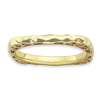 2.25mm 925 Sterling Silver Stackable Expressions Polished Gold-FlashedSquare Ring - Ring Size: 5 to 9