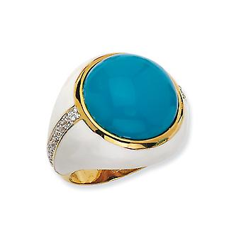 14k Gold Plated 925 Sterling Silver Enamel Wht Enam Simulated Turquoise and Cubic Zirconia Ring Jewelry Gifts for Women