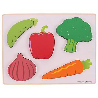 Bigjigs speelgoed houten educatieve Chunky Lift en zie Jigsaw Puzzle (groenten)