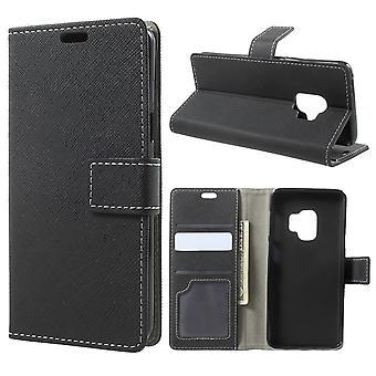 Portafoglio Custodia Samsung Galaxy S9 Black Cross Texture