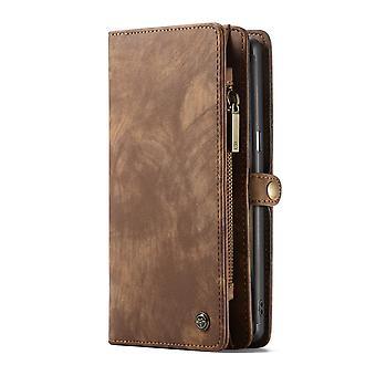 CASEME Samsung Galaxy Note 9 Portefeuille en cuir rétro Case Brown