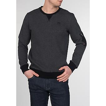 Merc CHARING, men's cotton sweatshirt with zip pocket on the left arm, black ribbed collar, hem and sleeves
