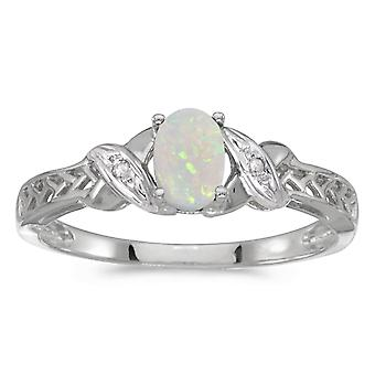 LXR 10k White Gold Oval Opal and Diamond Ring 0.19ct