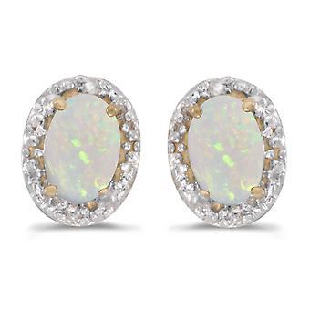 LXR 10k Yellow Gold Oval Opal and Diamond Earrings 0.38ct