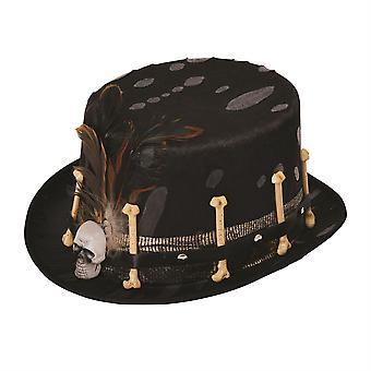 Cappello a cilindro nero stile Voodoo
