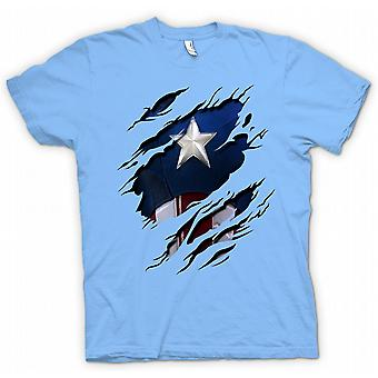 Mens T-shirt - Retro Captain America Super Hero Ripped Design