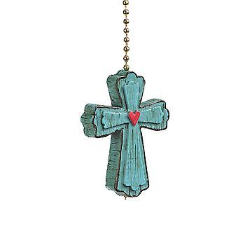 Clementine Design vreugdevolle Cross plafond Fan lichte dimensionale Pull hars blauw