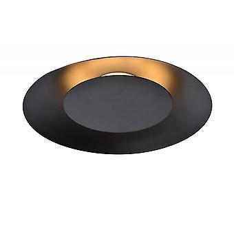 Lucide Foskal Modern Round Metal Black Flush Ceiling Light