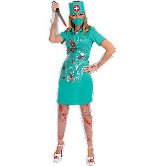 Vrouwen Bloody Nurse uniform horror Ziekenhuis Scrubs Halloween fancy dress kostuum