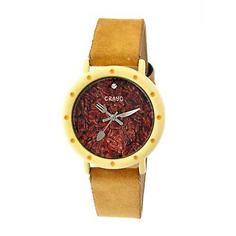 Crayo Slice Of Time Suede-Band Ladies Watch - Yellow/Goldenrod
