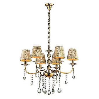 Ideal Lux - Panteón acabado en oro seis luz lámpara con cristal IDL088068