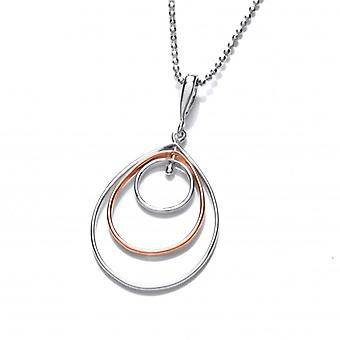 Cavendish French Silver and Copper Teardrop Movement Pendant with Silver Chain