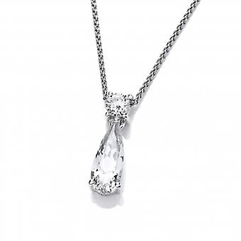 Cavendish French Silver and CZ Beauty Drop Pendant with Silver Chain