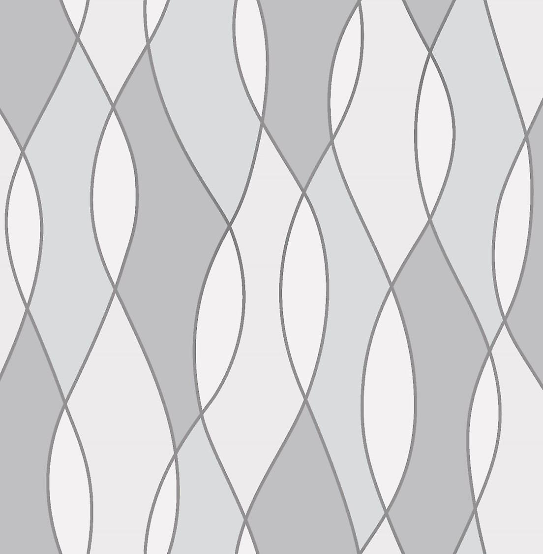 3D Effect Apex Wave Geometric Wallpaper Grey White Metallic Silver Fine Decor