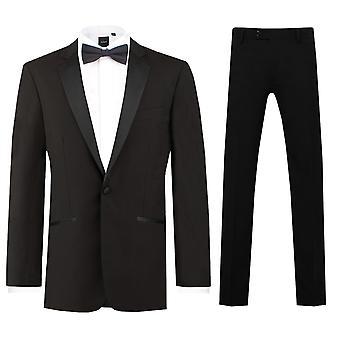 Dobell Mens Black 2 Piece Tuxedo Regular Fit 100% Wool Notch Lapel