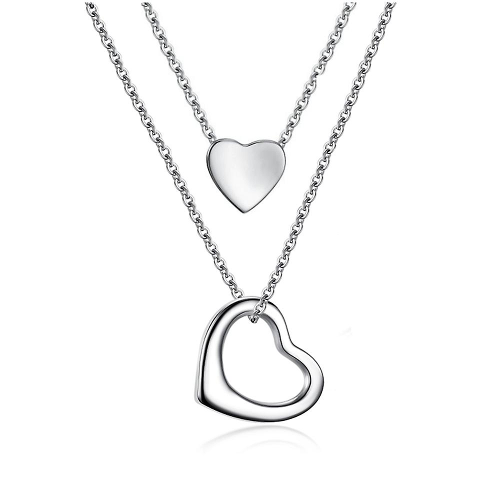 925 Sterling Silver Open Heart Layer Solid Pendant Necklace