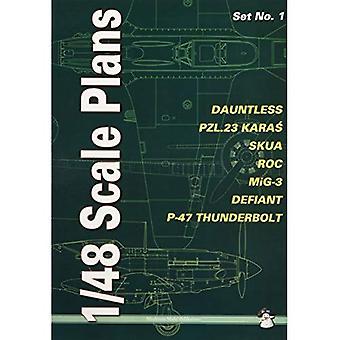 1/48 Scale Plans, Set No. 1: Dauntless, PZL.23 Karas, SKUA, ROC, MiG-3, Defiant, P-47 Thunderbolt