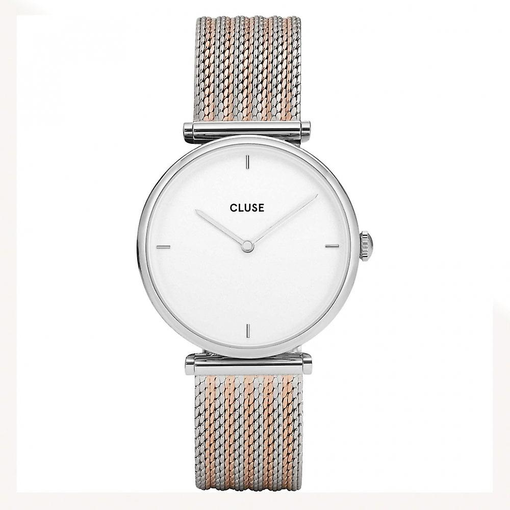 Cluse Cl61001 Triomphe Silver And Rose Gold Bicolour Mesh Ladies Watch