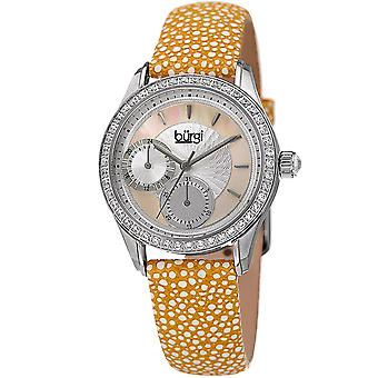 Burgi Women's BUR160YL Multi-Function Mother-of-Pearl Dial with Textured Leather Strap Watch