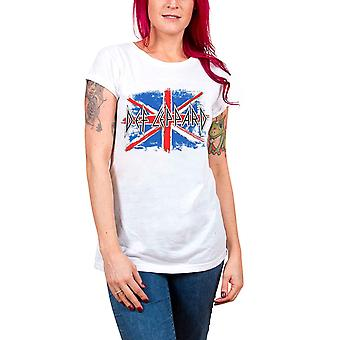 Def Leppard T Shirt Union Jack logo Official Womens Skinny Fit  scoop neck