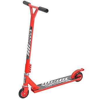 HOMCOM Outdoor Push Stunt Scooter 2 Wheels Fixed Bar 360° Street Commuter Street Push Scooter For Adult Teen Urban Scooter Red
