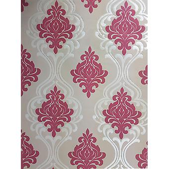 Raspberry Red Damask Wallpaper Taupe Silver Metallic Suede Effect Paste The Wall
